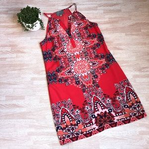 Anthropologie SKIES ARE BLUE Red Sleeveless Dress